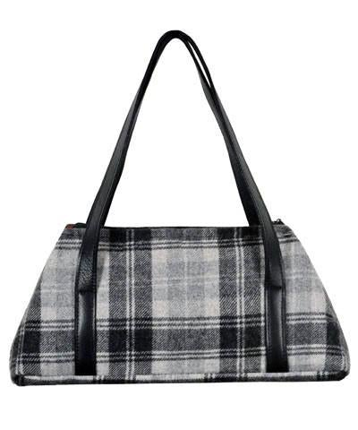 Valencia Style Handbag - Wool Plaid (One Nightfall Left!) Twilight / Leather Handbag Pandemonium Millinery