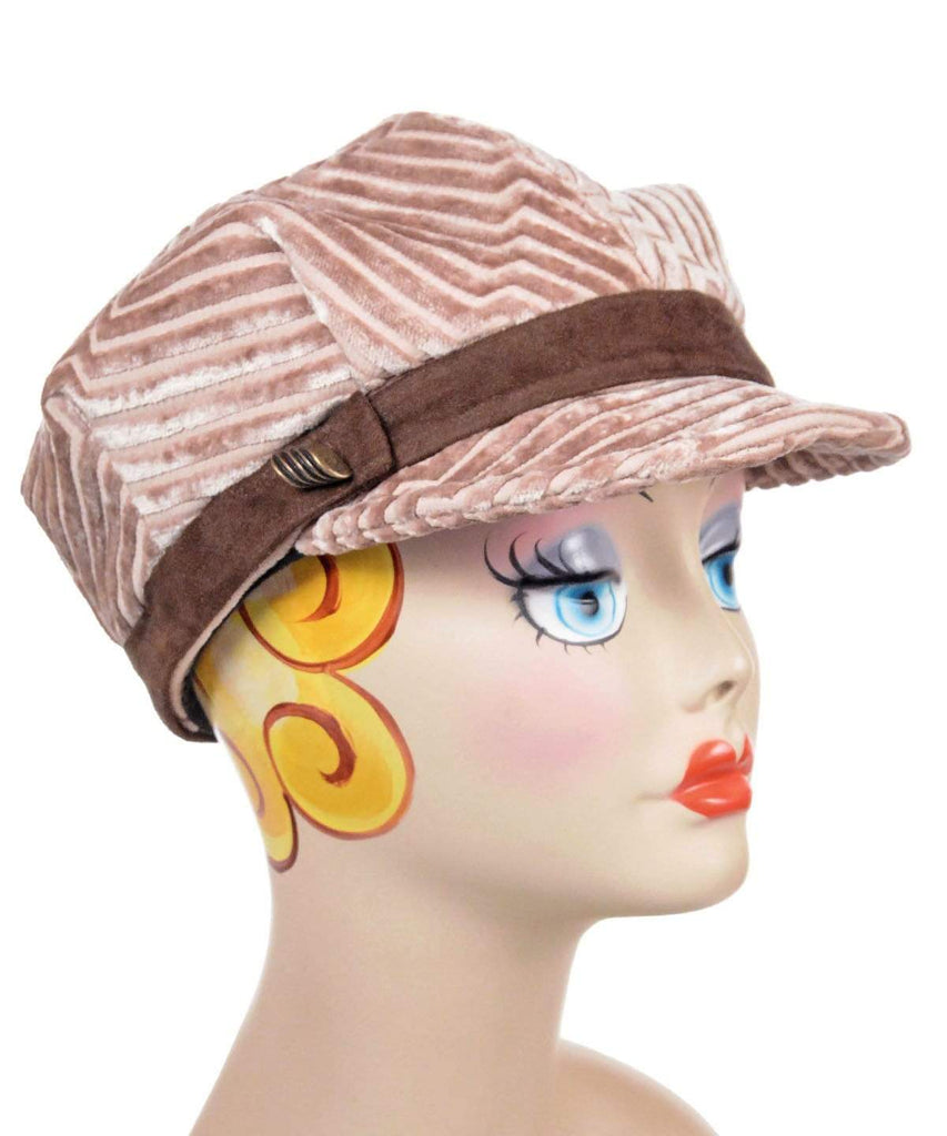 Pandemonium Millinery Valerie Cap Style - Chenille in Cherry Blossom Medium / Faux Suede Band - Chocolate / Button -  B15-O-BRN Hats