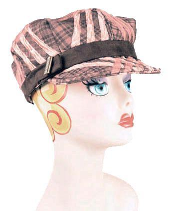 Valerie Cap Style - Copper Plaid Upholstery Medium / Faux Suede Band - Chocolate / Button - Bronze Hats Pandemonium Millinery