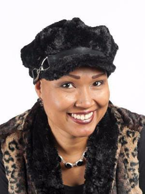 Valerie Cap Style - Cuddly Faux Fur in Black Medium / Faux Suede Band - Black / Buckle - Nickel Hats Pandemonium Millinery