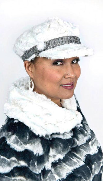 Valerie Cap Style - Cuddly Faux Fur in Ivory Medium / Band - Frozen Tundra / Button - Faux Fur Hats Pandemonium Millinery