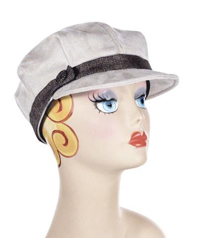 Valerie Cap Style - Faux Suede in Silver Medium / F738 & BTN-84 & B16-9-BRNZ Hats Pandemonium Millinery