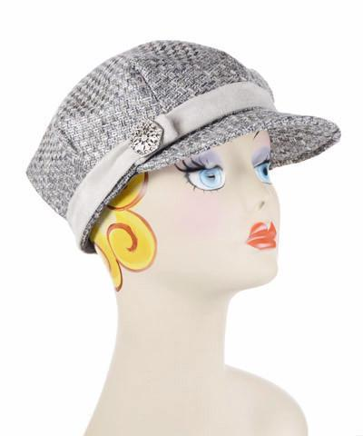 Valerie Cap Style - Frozen Tundra Upholstery Medium / Faux Suede Band - Silver / Button - Silver Hats Pandemonium Millinery