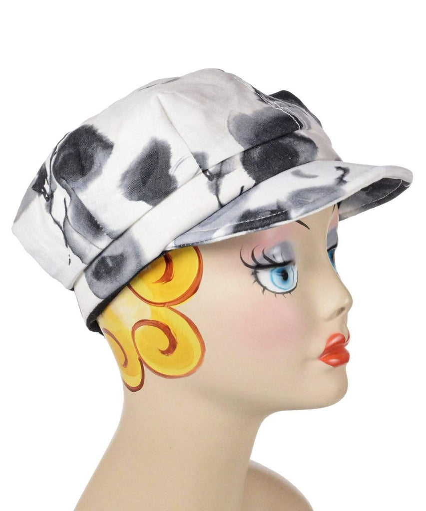 Pandemonium Millinery Valerie Cap Style - Linen in Black / White Floral Medium / Hat Only Hats