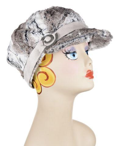 Valerie Cap Style - Luxury Faux Fur in Birch Medium / Faux Suade Band - Silver / Button - Spiral Detail Hats Pandemonium Millinery