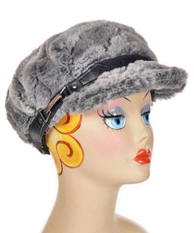 Valerie Cap Style - Luxury Faux Fur in Stormy Night Medium / Hat Only Hats Pandemonium Millinery
