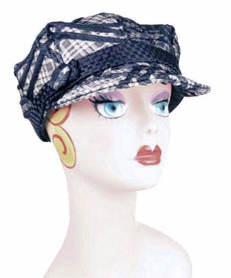Valerie Cap Style - Silver Plaid Upholstery Medium / Band - Interconnected Black / Button - Covered Hats Pandemonium Millinery