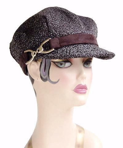 Valerie Cap Style - Static Upholstery Medium / Faux Suede Band - Black / Buckle - Nickel Hats Pandemonium Millinery