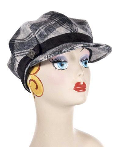 Valerie Cap Style - Wool Plaid in Twilight Medium / Band - Faux Suede Black / Button - Tin Hats Pandemonium Millinery