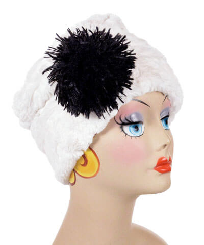 Cuffed Pillbox, Reversible (Solid or Two-Tone) - Cuddly Faux Fur in Ivory (Stone - SOLD OUT) Medium / Ivory - Solid Hats Pandemonium Millinery