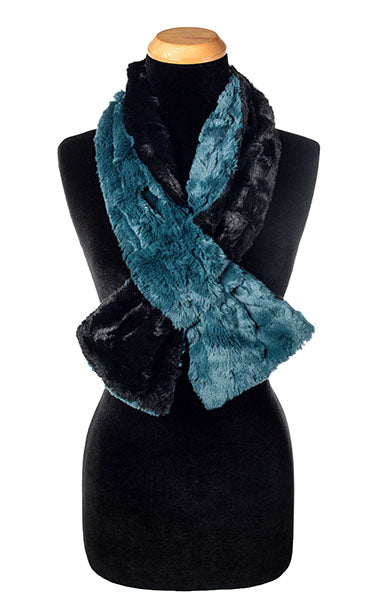 Pull-Thru Scarf (Long) -  Luxury Faux Fur in Peacock Pond with Cuddly Black (Limited Availability)
