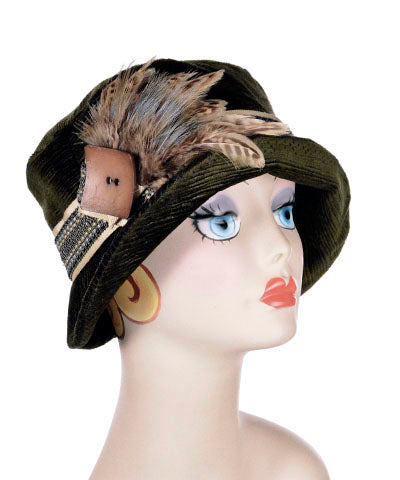 Samantha Hat Style - Cohen in Olive Upholstery - Medium / 4-A1 & F16-08 & B16-24BRN - Hats - Pandemonium Millinery