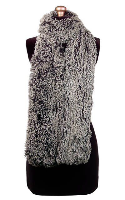Classic Scarf Silver Tip Fox in Black Faux Fur Handmade in Seattle WA USA