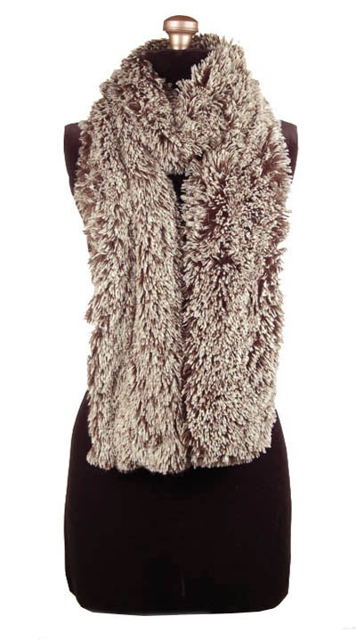Classic Scarf Silver Tip Fox In Brown Faux Fur Handmade in Seattle WA USA