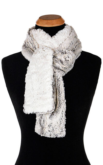 Classic Skinny Scarf Two-Tone Luxury Faux Fur in Khaki  Handmade in Seattle WA USA