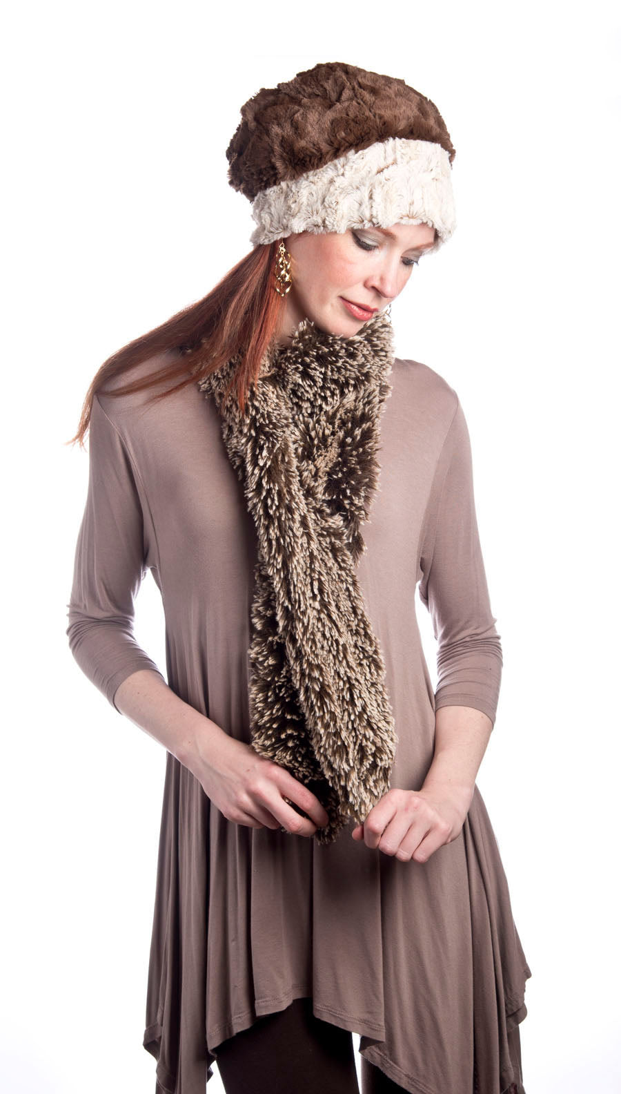 Classic Scarf - Silver Tipped Fox Faux Fur in Brown (Classic Dye Lots - Standard Size Only)