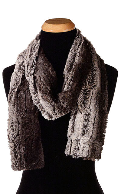 Classic Scarf - Luxury Faux Fur in Chinchilla Brown - Skinny / Chinchilla Brown - Scarves - Pandemonium Millinery