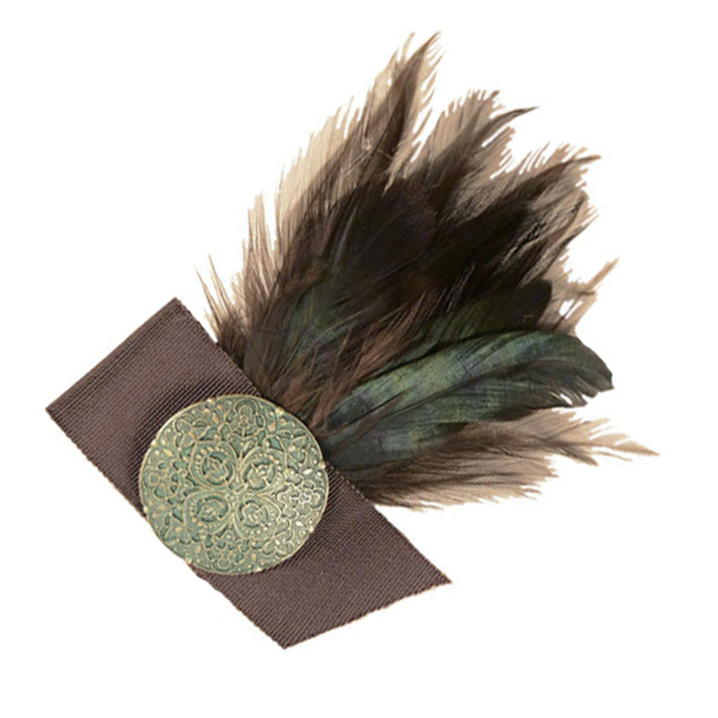 "Feather Brooch - Brown & Green - 9"" x 7"" / Green/Chocolate - Hat Trims - Pandemonium Millinery"
