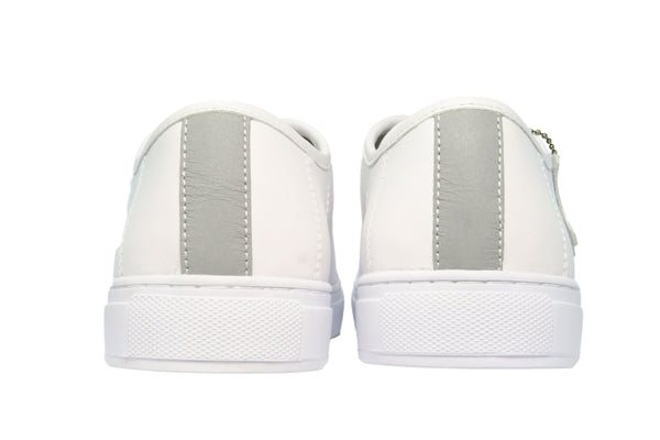 clean white real leather lace-up sneaker from CHAINS. 3M stripe