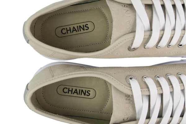 Classic design Beige lace-up sneaker with cow suede and pig leather insole.