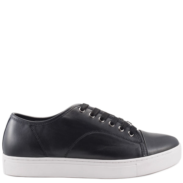 Black leather lace-up kori sneaker from CHAINS