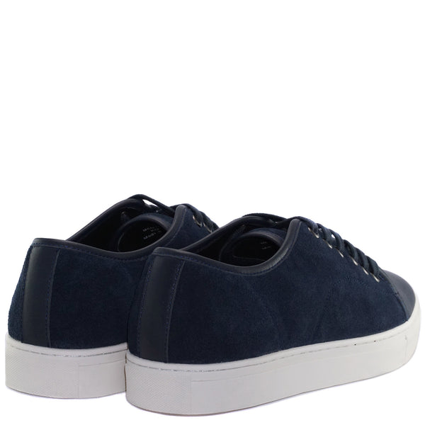 Navy blue cow suede lace-up sneakers from CHAINS with lace lock