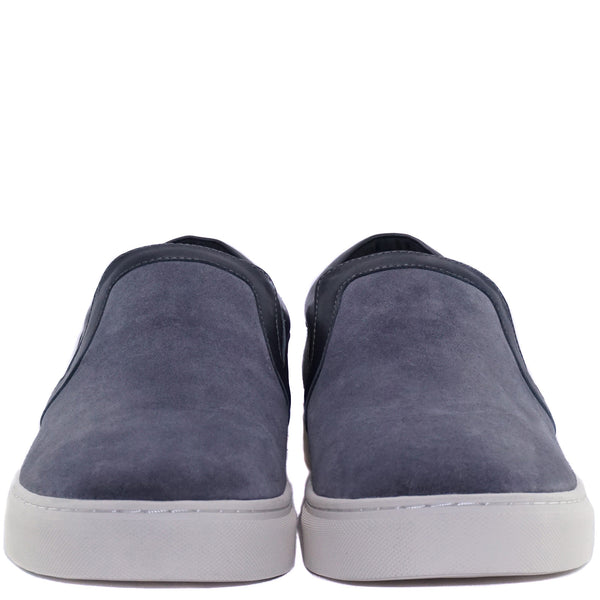 Grey cow suede Lian Slip-on Slide with CHAINS metal badged pinned on the side