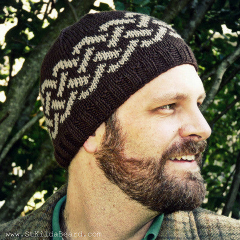 Hand Knit Celtic Knot Cap