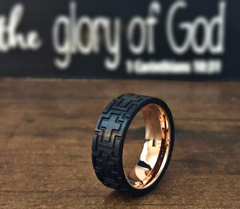 Stainless Carved CROSS Carbon Fiber Rose Gold Plated RING