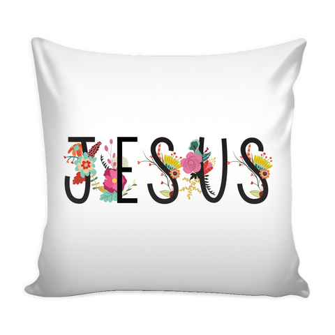Jesus Floral Pillow Cover