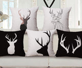 Psalm 18:33 Deer black and white Pillow Covers