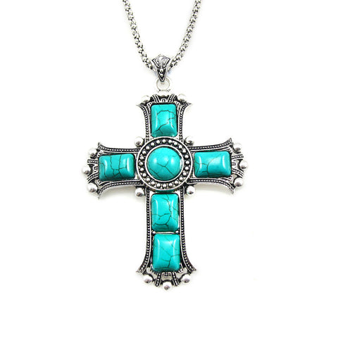 Vintage Silver Plated Cross Pendant Necklace