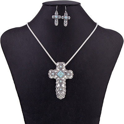 Beautiful Cross Necklace & Earring Sets