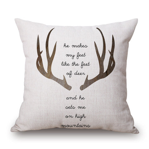 Psalm 18:33 Deer Pillow Cover