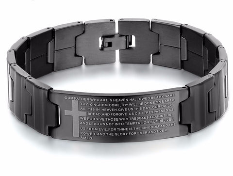"""The Lord's Prayer"" Stainless Steel Cross Bracelet"
