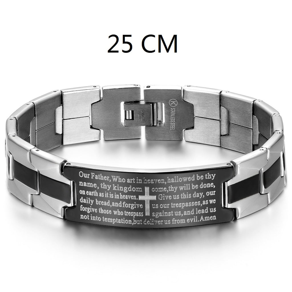 Lords Prayer Our Father Stainless Steel Cross Link Men Women Religious Bracelet