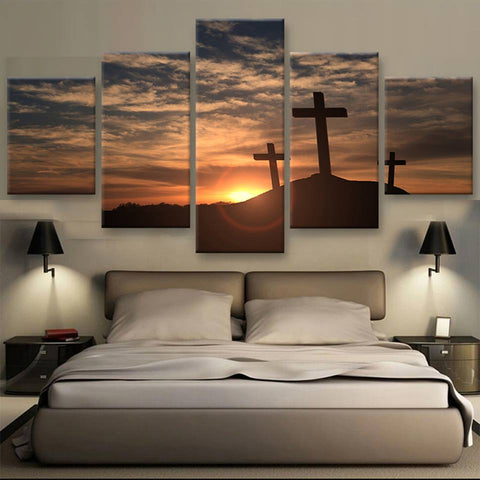 Crosses At Sunset -  5 Panel Custom Print