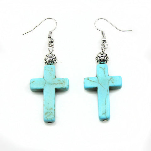 Vintage Turquoise Cross Earrings
