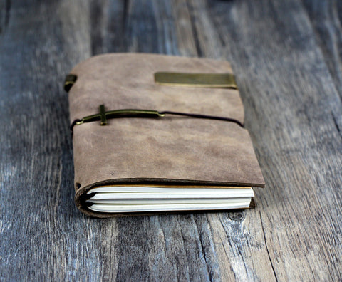Genuine Leather Bound Cross Bound Church Notebook Diary