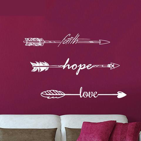 Faith Hope Love Arrow Vinyl Wall Art Decals Sticker for Kids Rooms Bedroom Home Decor