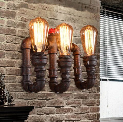 Triple Water Pipe Edison Vintage Light