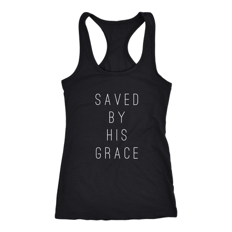 "Racerback ""Saved by His Grace"" - Light Jersey Tank"