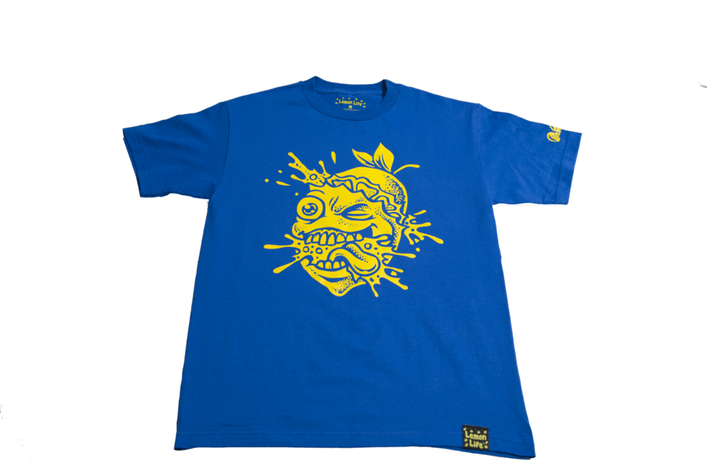 "New color! The ""Lemon Splat"" T-Shirt in Blue & Yellow"