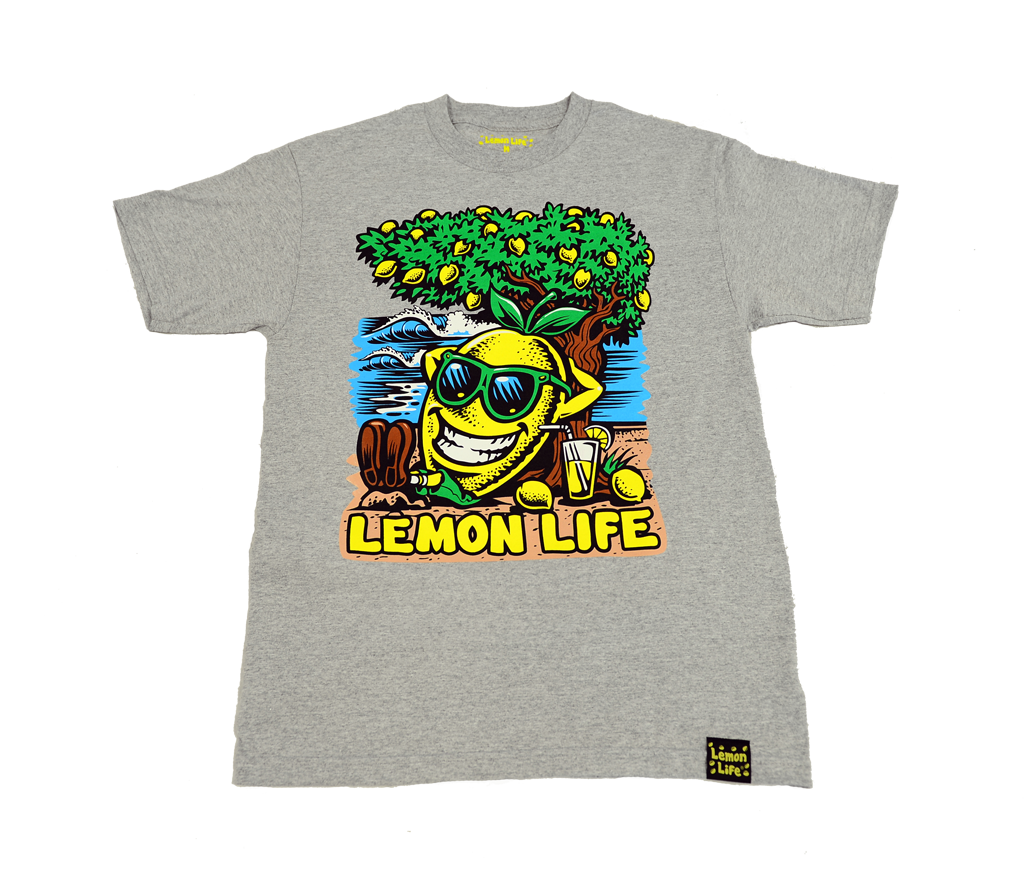"The ""Lemon Life Beach"" T-Shirt - Ash"