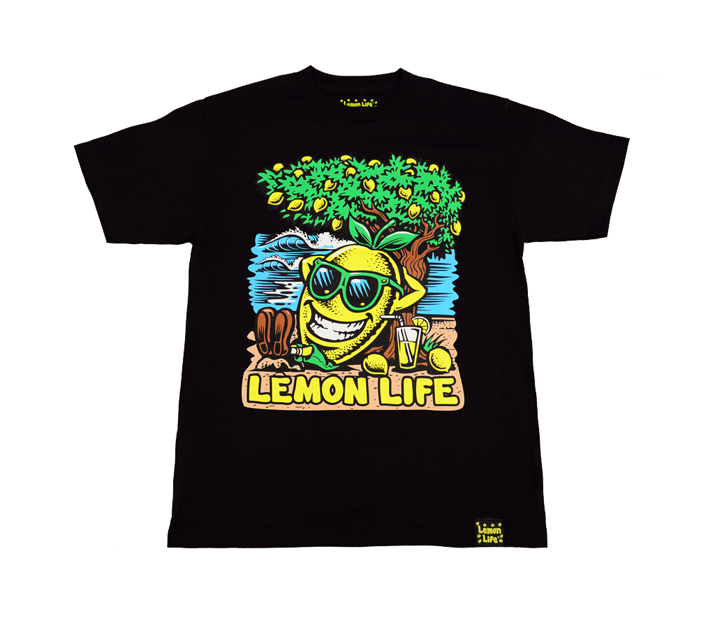 "The ""Lemon Life Beach"" T-Shirt - Black"