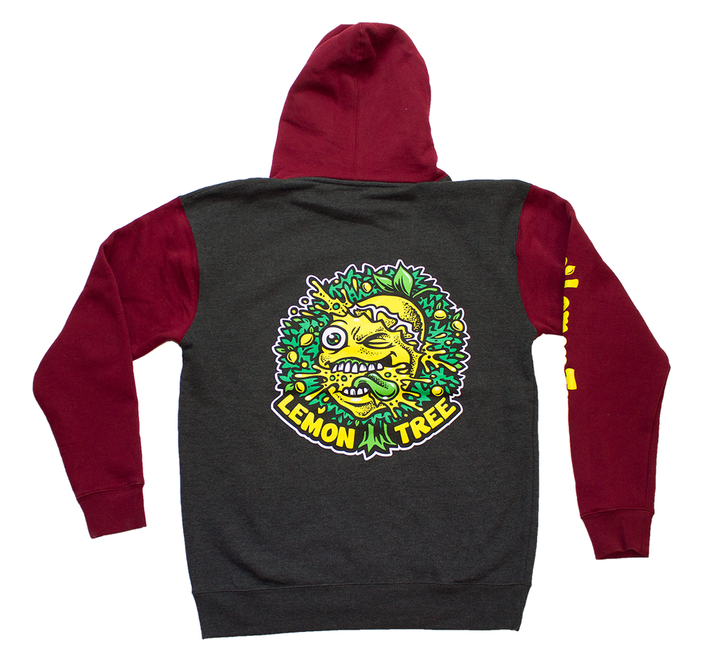 Lemon Tree Original Pullover Hoodie Two Tone Charcoal Heather and Maroon Sleeves