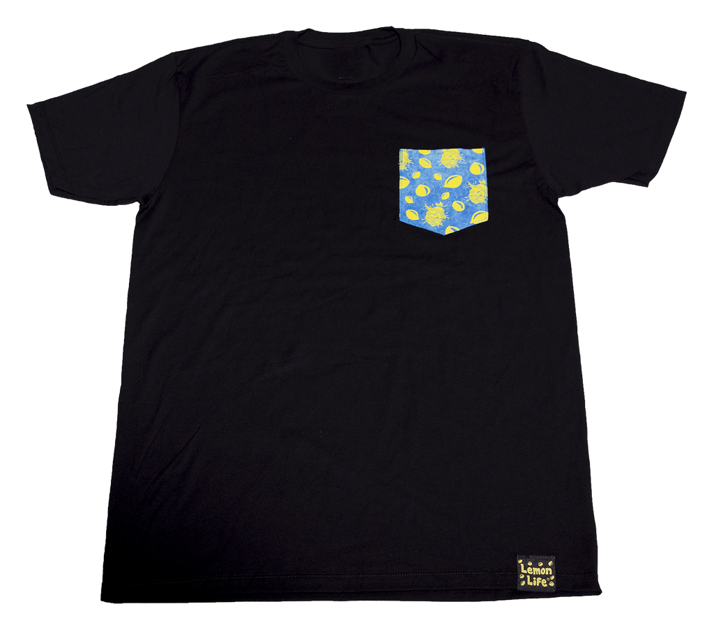 Lemon Life Custom Pocket T-shirt blue/yellow - The Lemon Tree