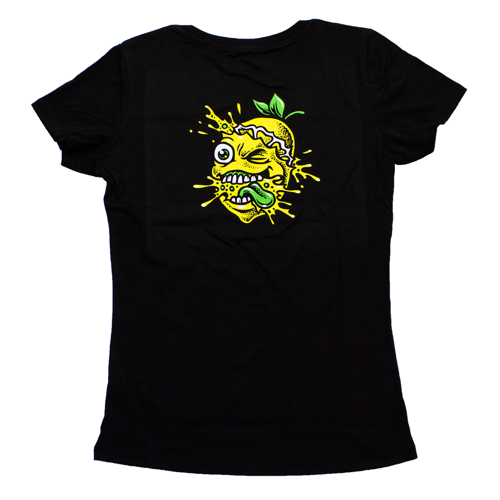 Lemon Splat Ladies V Neck Shirt Black