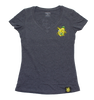Lemon Splat Ladies V Neck Shirt Heather Grey
