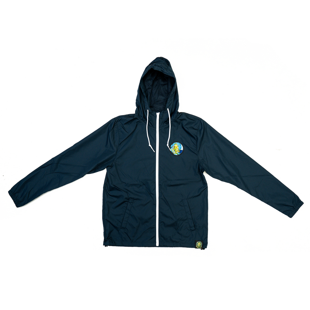 Lemon Tree Surfer Patch Zip Up Windbreaker - Navy